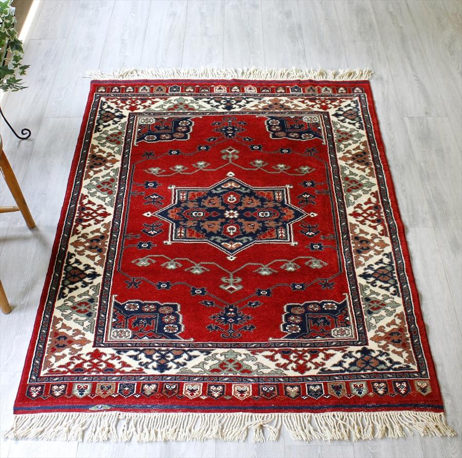 トルコの手織りのじゅうたん・ウール100%の新しいカーペット・ラグ/イズミル・アンティーク・リプロダクション161×119cm星とドラゴン/Turkish Handweaven Carpet