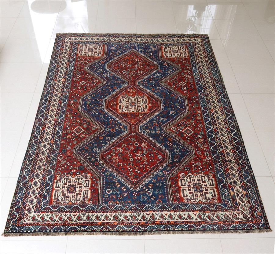 オールドカーペット・アンティークラグ/大型ルームサイズ・ケッレ306×215cmイラン・カシュカイ族の絨毯/赤と青・3つのダイヤのメダリオン