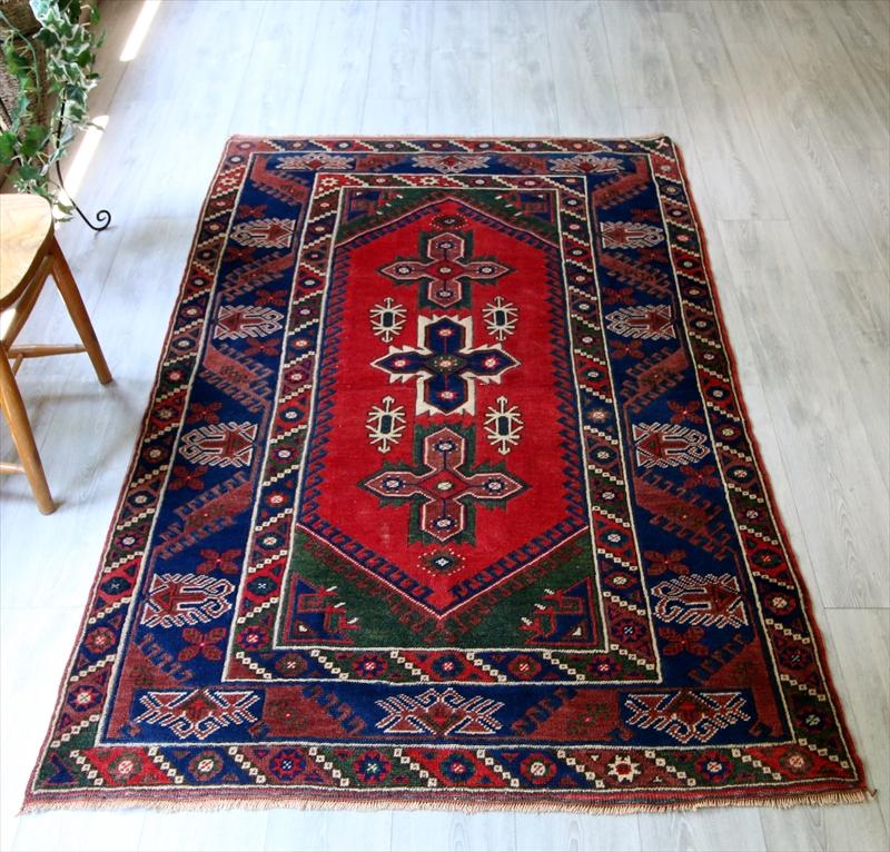 オールドカーペット・トルコ絨毯エリアラグ/セッジャーデ197×125cmドゥシュメアルトゥ/6角形の赤いメダリオン