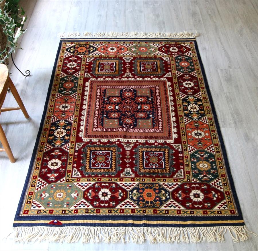 トルコの手織りのじゅうたん・ウール100%の新しいカーペット・ラグ/西アナトリア・アンティーク・リプロダクション176×121cm生命の樹と鳥/Turkish Handweaven Carpet