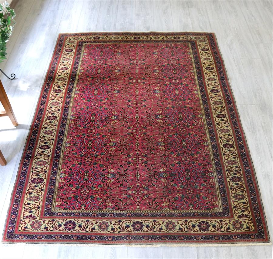 オールドカーペット・カイセリ・トルコ手織り絨毯204×150cm細かなお花のモチーフ/ローズピンク