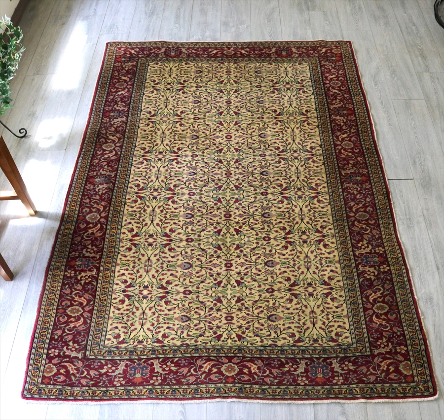オールドカーペット・カイセリ・トルコ手織り絨毯212×146cm細かな花モチーフ/イエロー&ローズピンク