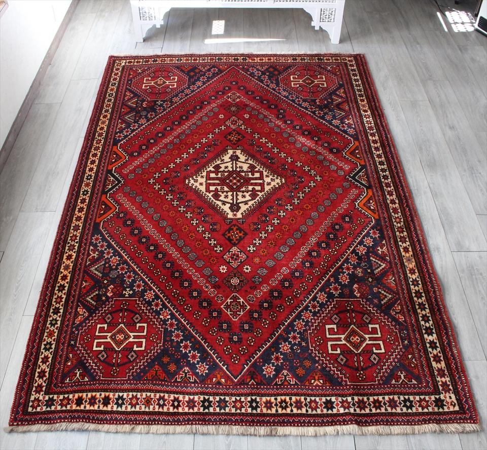 シラーズ・カシュカイ族のじゅうたん/オールドカーペット260×167cmダイヤの赤いメダリオン