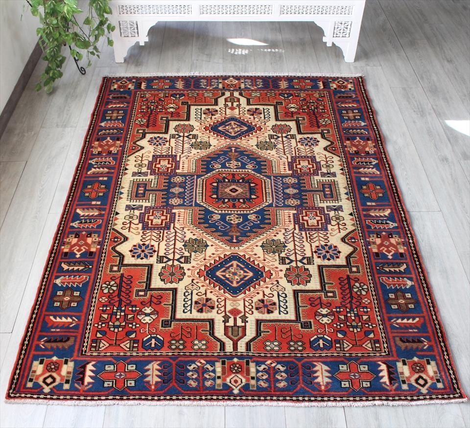 オールドカーペット・ハマダン 部族絨毯 リビングサイズ195×145cm華やかな幾何学モチーフ アイボリー/レッド