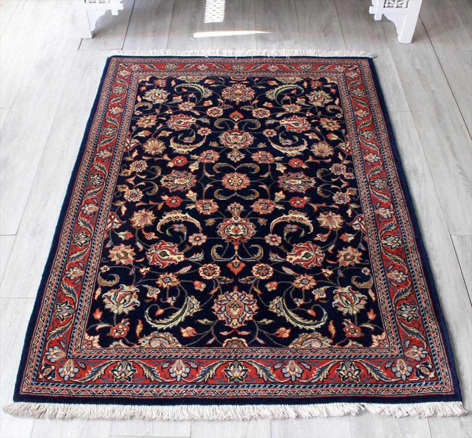 エリアラグ・ペルシャ絨毯/センターラグ145×107cmジョザン パルメット/ネイビーブルー濃紺