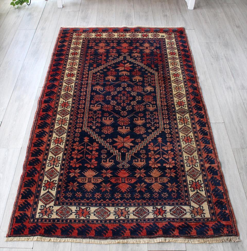 トライバルラグ・ヤージベディル/オールドカーペット・ベルガマ204×114cm手織り絨毯 セッヂャーデ 深いネイビーとレッド
