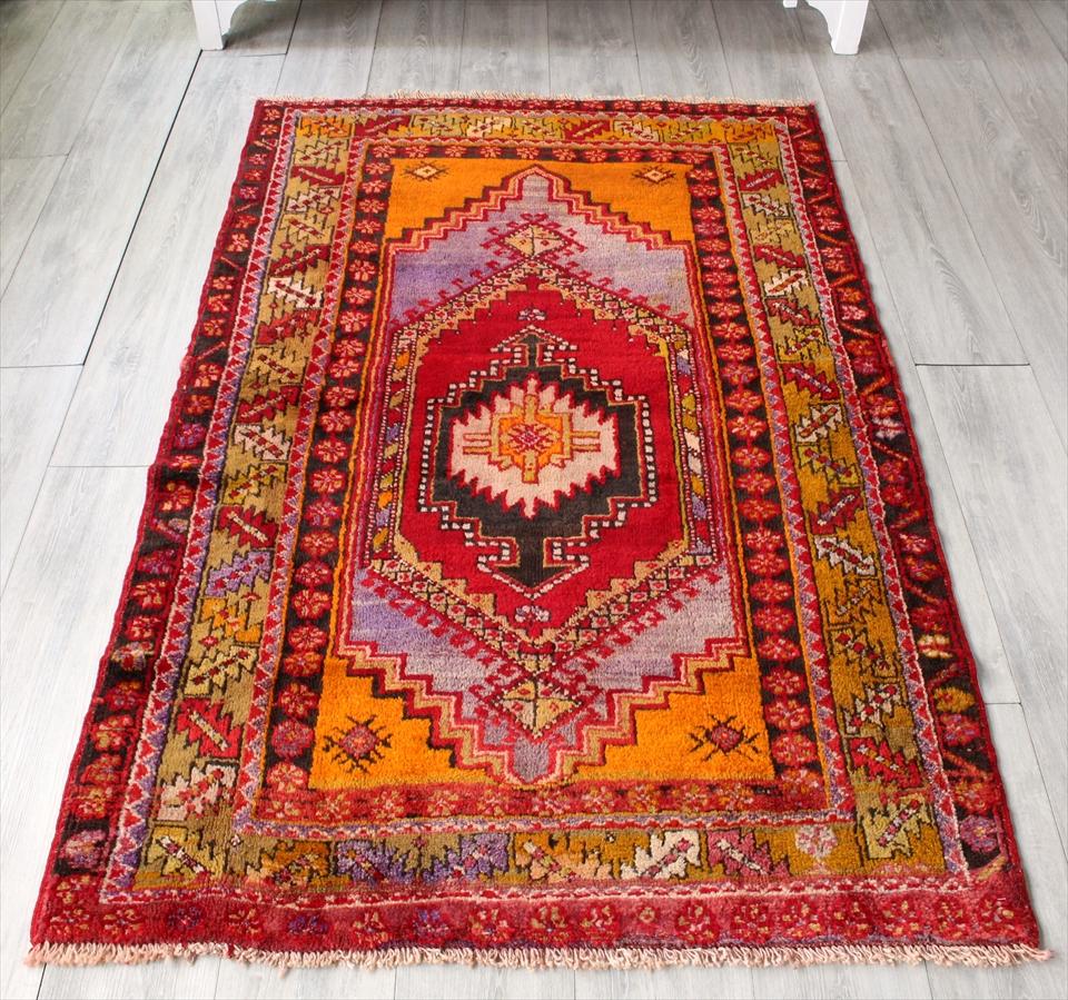 オールドカーペット・エリアラグ コンヤ トルコ絨毯 セッヂャーデ175×107cm暖色系の六角メダリオン