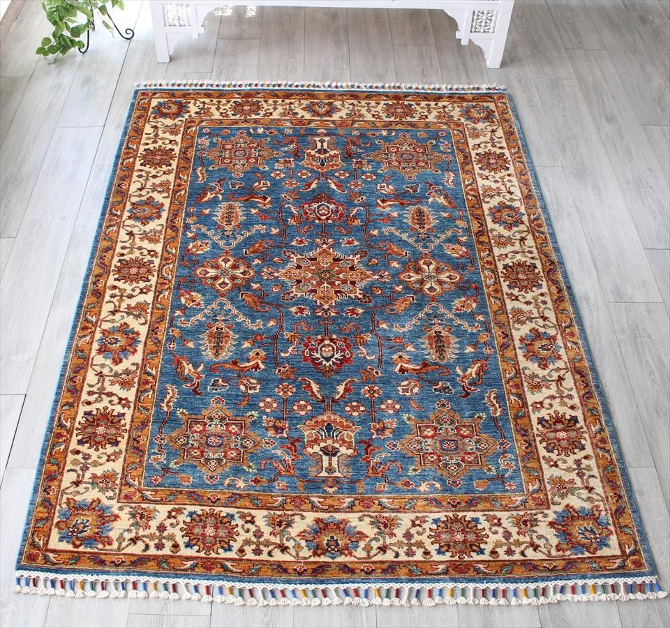 コーカサス・シルヴァンデザイン手織りカーペット198×149cm幾何学モチーフのトルコ絨毯・ブルー/センターラグサイズ