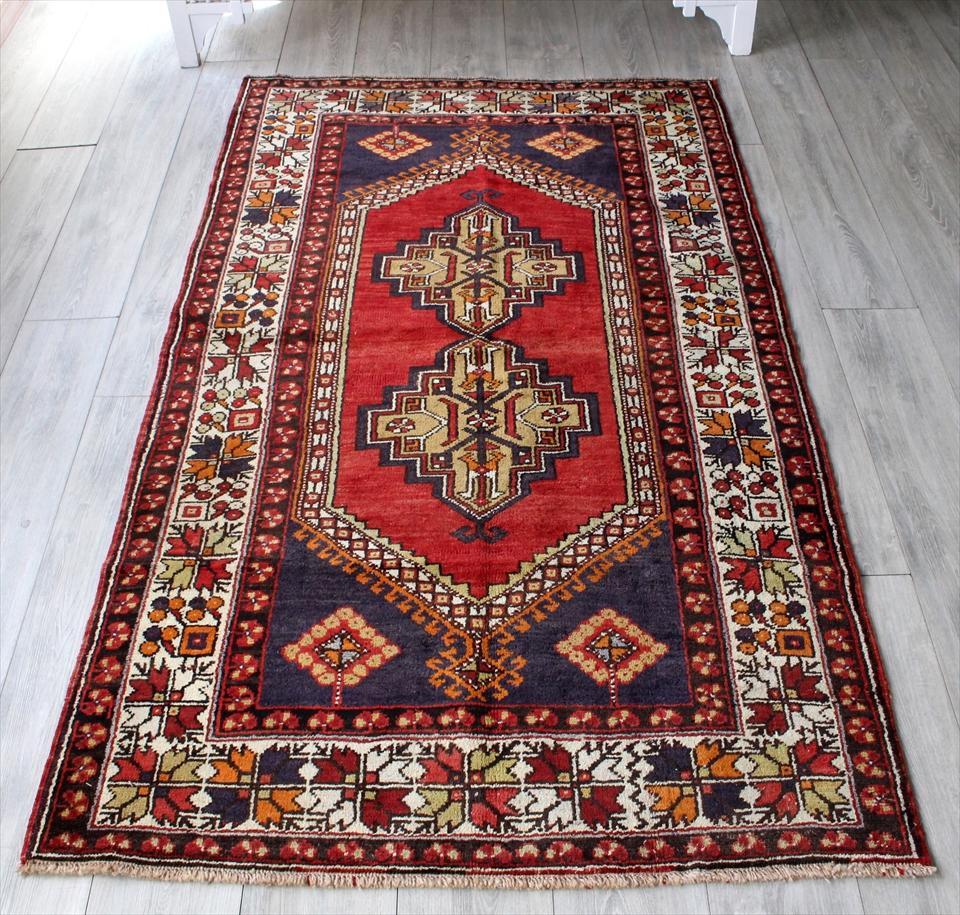 トルコ絨毯・トライバルラグ コンヤ・タシプナル カリヨラ197×113cm赤い六角形のメダリオン