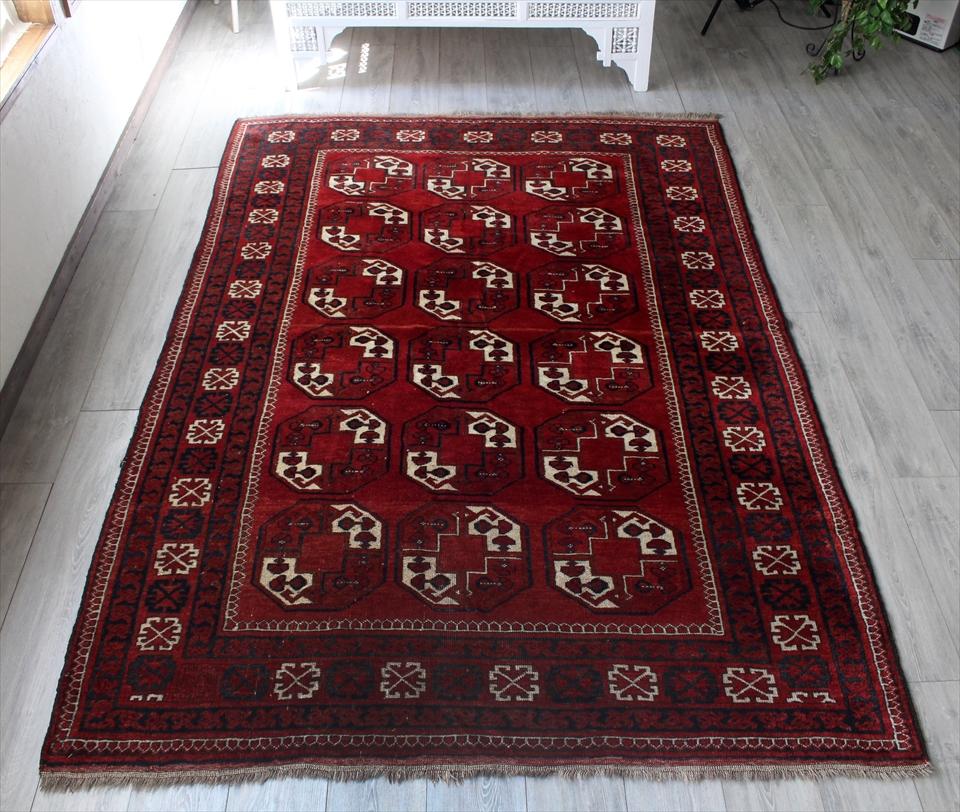 トライバルラグ・部族絨毯 トルクメン リビングサイズ257×174cm深いレッド・連なる八角形の連続モチーフ