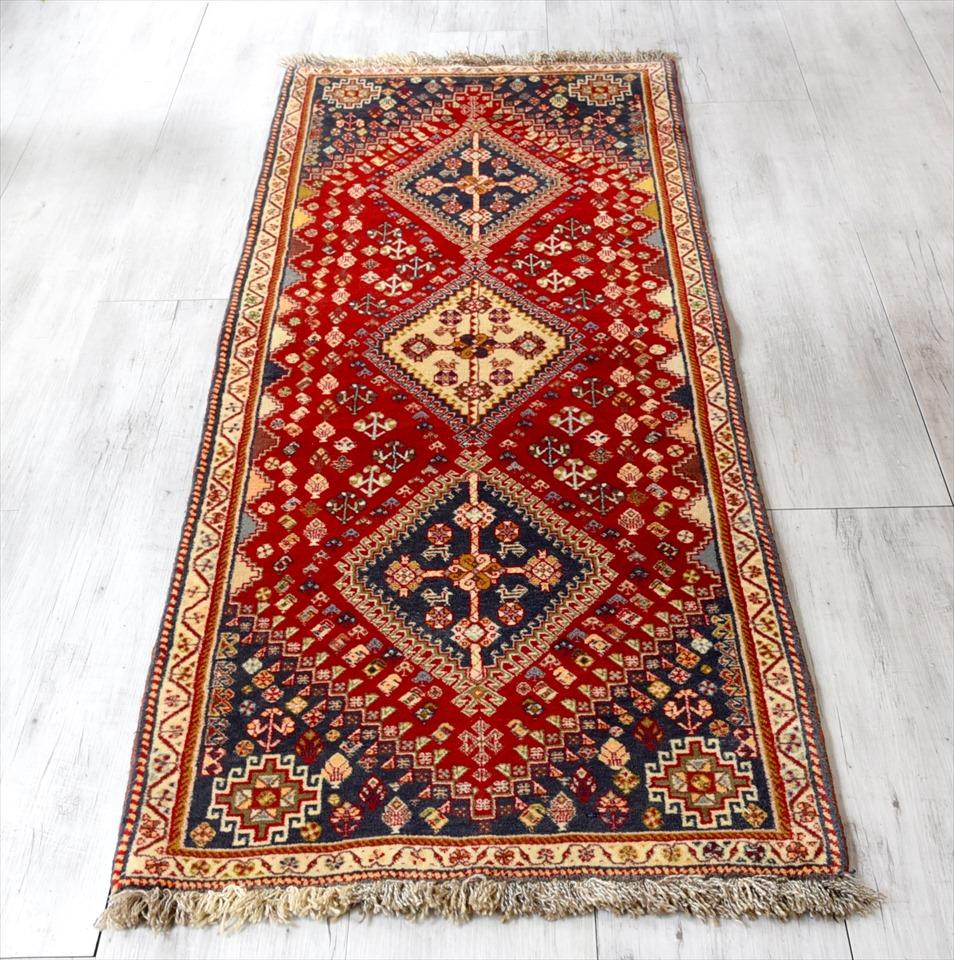 カシュカイ族の手織りラグ・部族絨毯/トライバルラグ198×70cmランナーサイズ レッド/3連のメダリオン