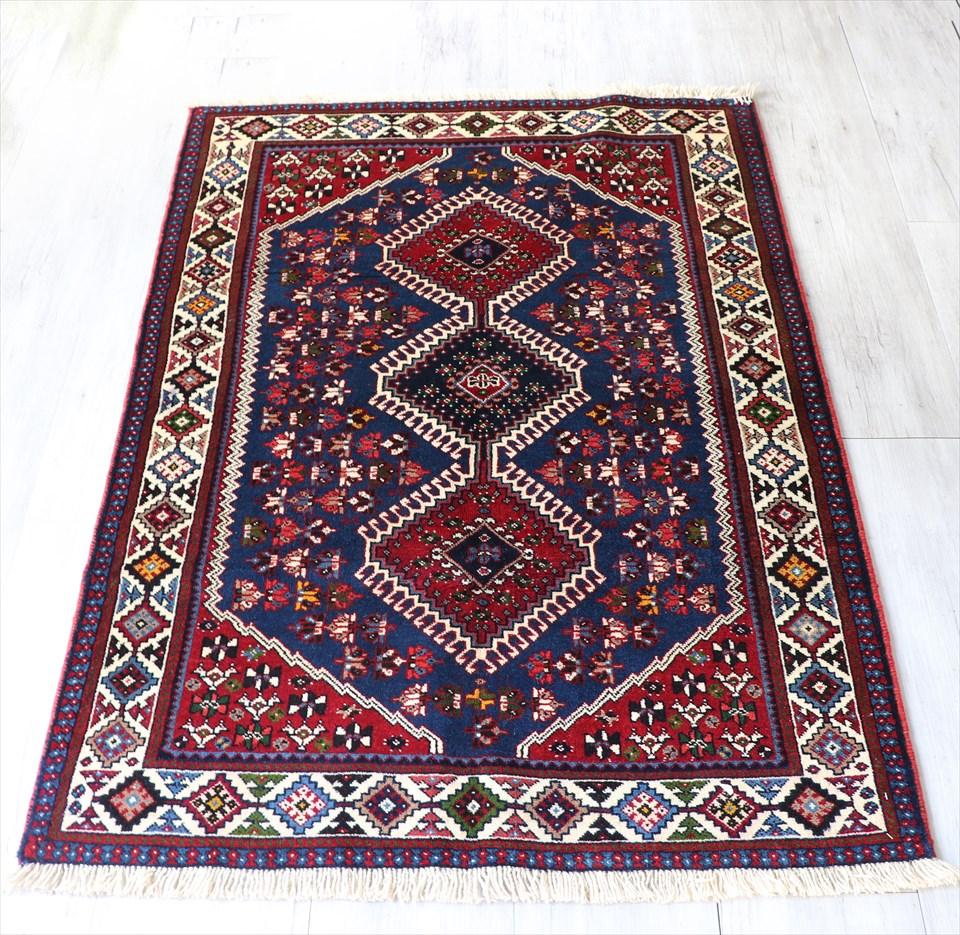 トライバルラグ・部族絨毯 ヤラメ Yarameh 156×106cmネイビー/レッド・3つのダイヤ ドラゴンの爪