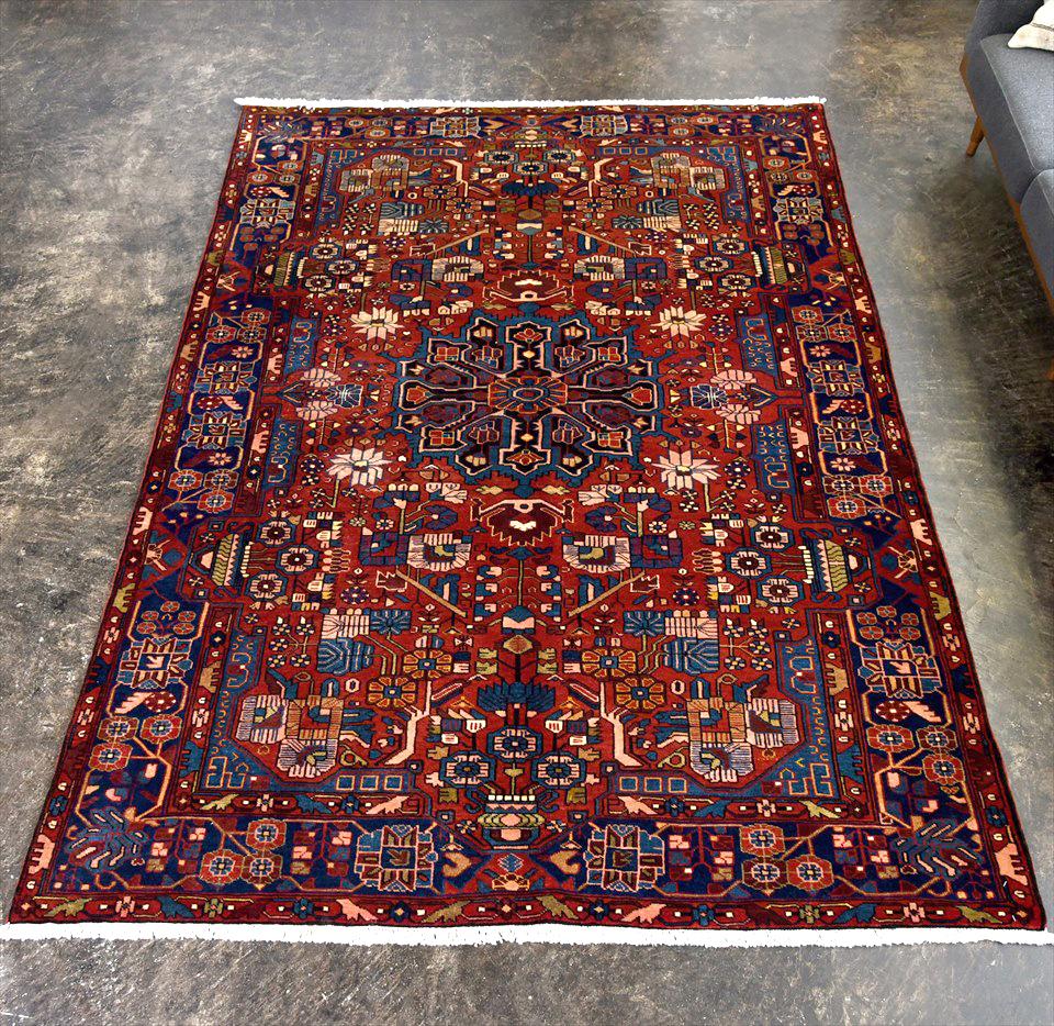 オールドカーペット・ナハバンド部族絨毯 リビングサイズ240×162cm細かな幾何学モチーフ レッド