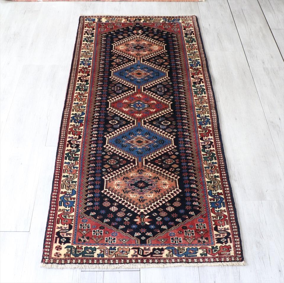 トライバルラグ・部族絨毯 ヤラメ Yarameh 198×83cmネイビー/レッド・3つのダイヤ ドラゴンの爪