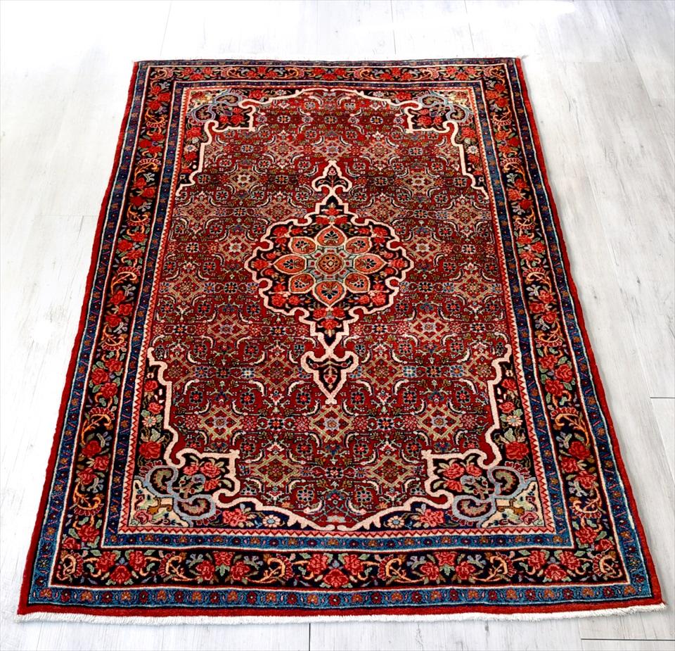 トライバルラグ・部族絨毯 ビジャール センターラグサイズ168×111cm ワインレッド/アンカーメダリオン