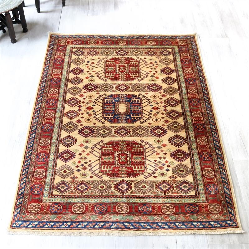 トルコじゅうたん センターラグサイズ/コーカサス地方の伝統柄170×120cmウール100%手織り/工芸品カーペット