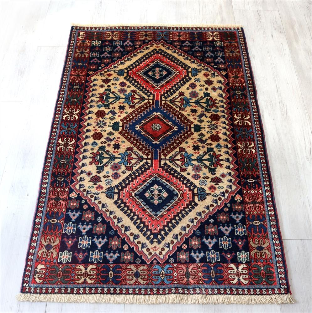 トライバルラグ・部族絨毯 ヤラメ Yalameh124×80cm3つのダイヤ ドラゴンの爪 アイボリー/ネイビー