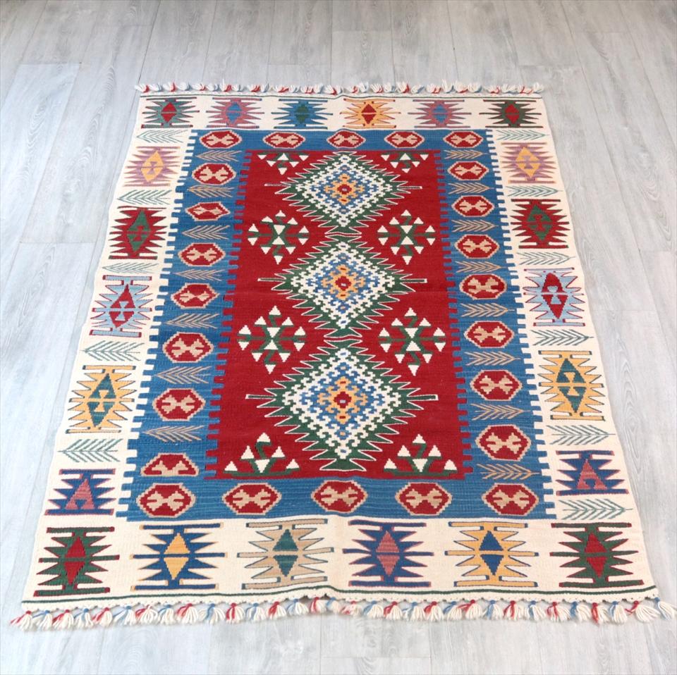 カイセリキリム・セッヂャーデ トルコ産ウール100%手織りキリム194×112cm3つのドラゴンモチーフ/麦の穂のボーダー レッド/ブルー
