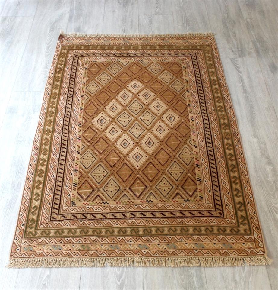 アフガニスタン ミシュワニ123×79cmMishwani Rug 細かなスマックとパイル織り