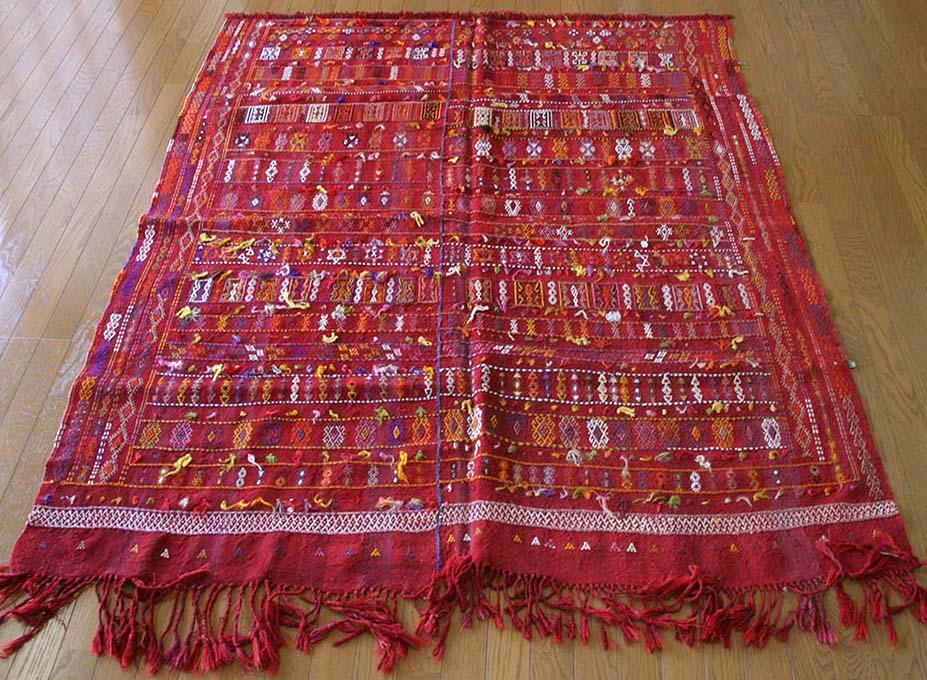 オールドキリム・アダナ細かなジジム飾りのついたチフカナット 190×172cm