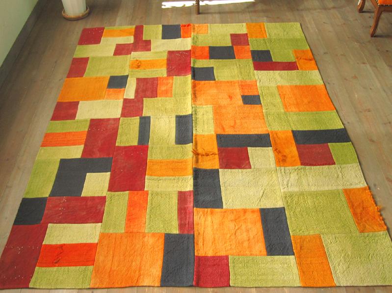 オールドキリム・パッチワーク198×158cmペルデ・オレンジ&グリーン