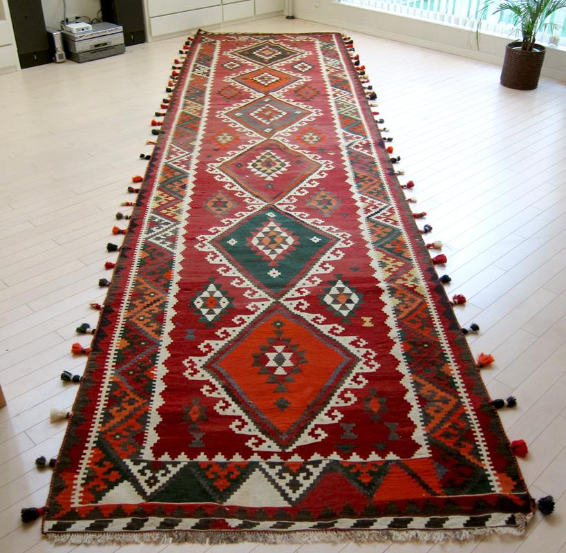オールドキリム イラン キリム 手織り ・カシュカイ族シラーズ515×128cmロングランナー(テント装飾用)6つのメダリオン