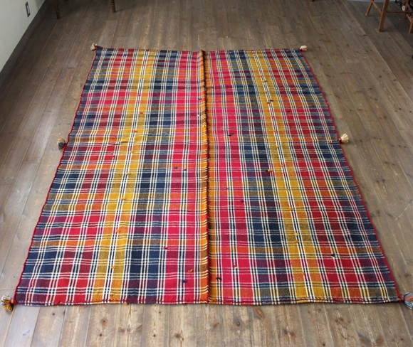 オールドジャジム(テント装飾用)・カシュカイ族シラーズ240×170cmピンク・イエロー・ブルーのボーダー チフカナット(2枚パネル)
