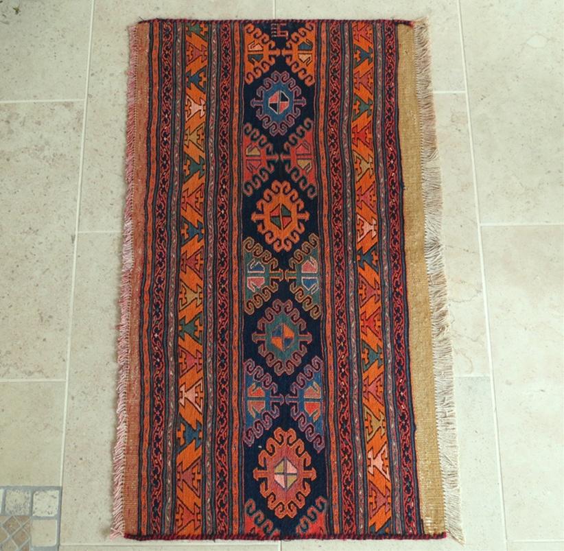 シャーサバンスマックキリム・フラグメント59×107cmシャーサバン族の細かな織り