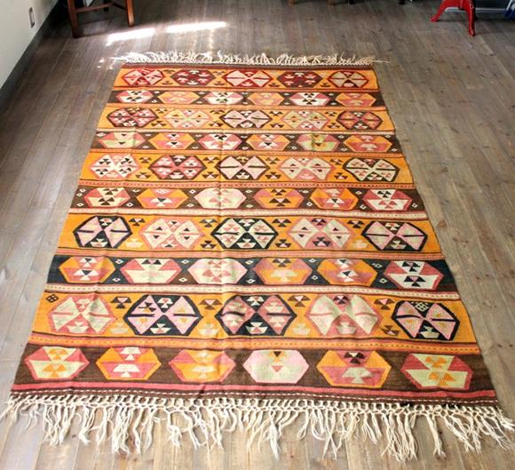 オールドキリム・シワス/カリヨラ263×155cmオレンジとピンクの六角形モチーフ