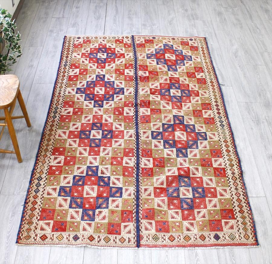 オールドキリム・バルケスィール/チフカナット・カリヨラサイズ244×136cm連なるダイヤ・四角いタイルのジジム織り