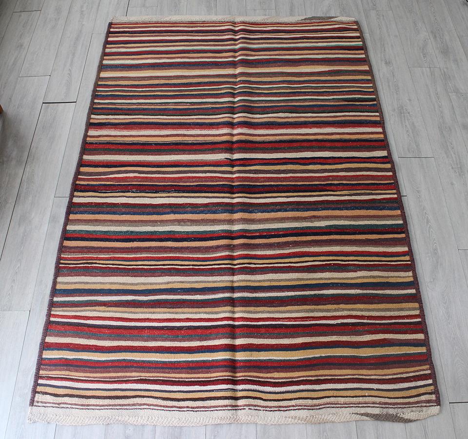 手織りキリム・カシュカイ/シラーズ233x155cm カラフルなストライプ