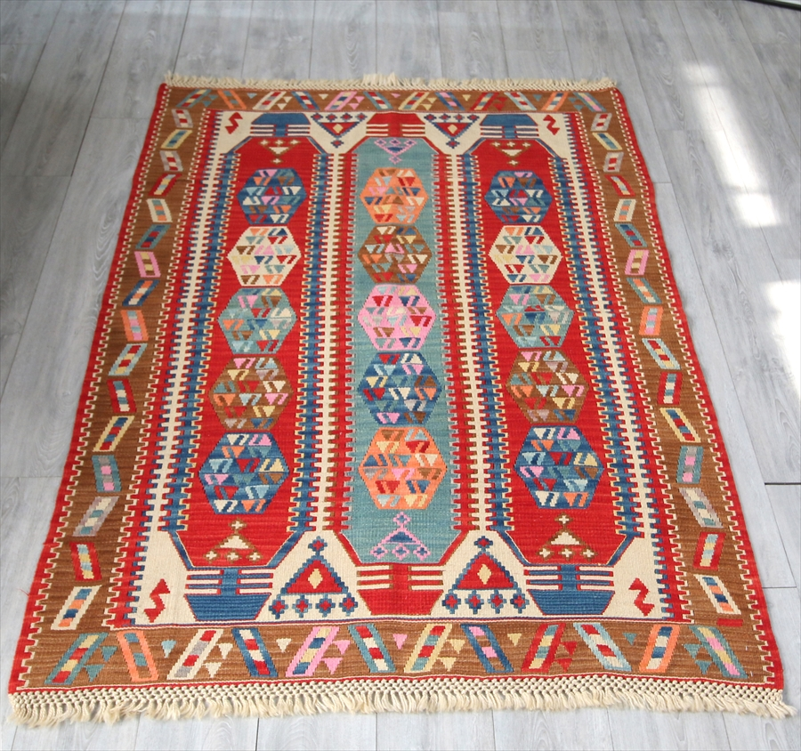 色にこだわる~トルコ・カイセリキリム Turkish Kilims Kayseri セッヂャーデ180×126cmシワス・シャルキュスラ地方の伝統柄