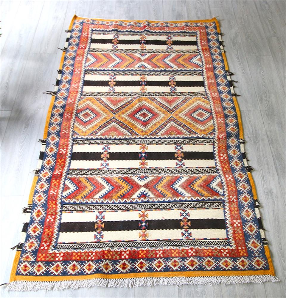 モロッコキリム・タピグラウイ/パイル織りのコンビラグ213×109cmゆったりリビングサイズジグザグのボーダー Morocco Tapi rug