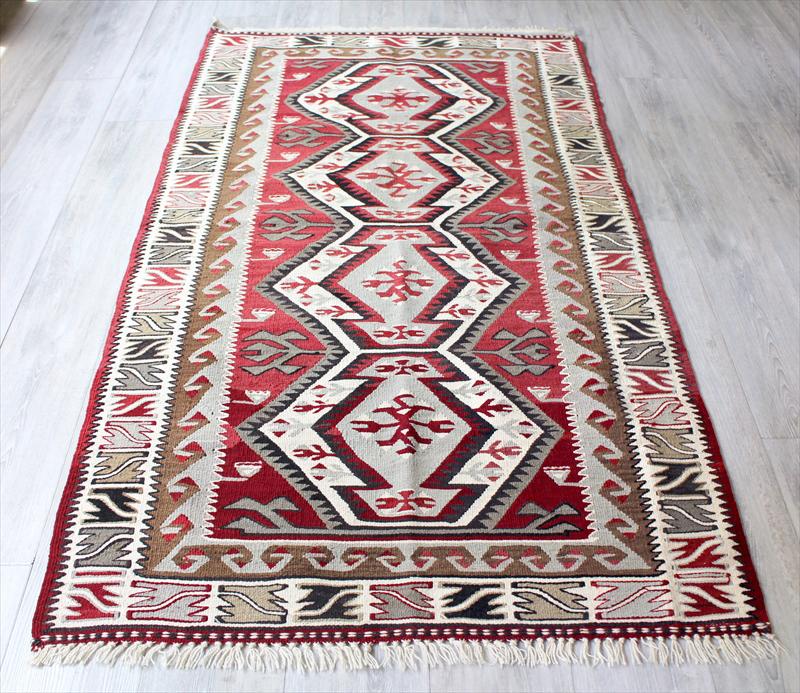 アダナキリム・バフチェジック/トルコ手織りキリムウール100%182×102cm4つのエリベリンデのメダリオン セッヂャーデ