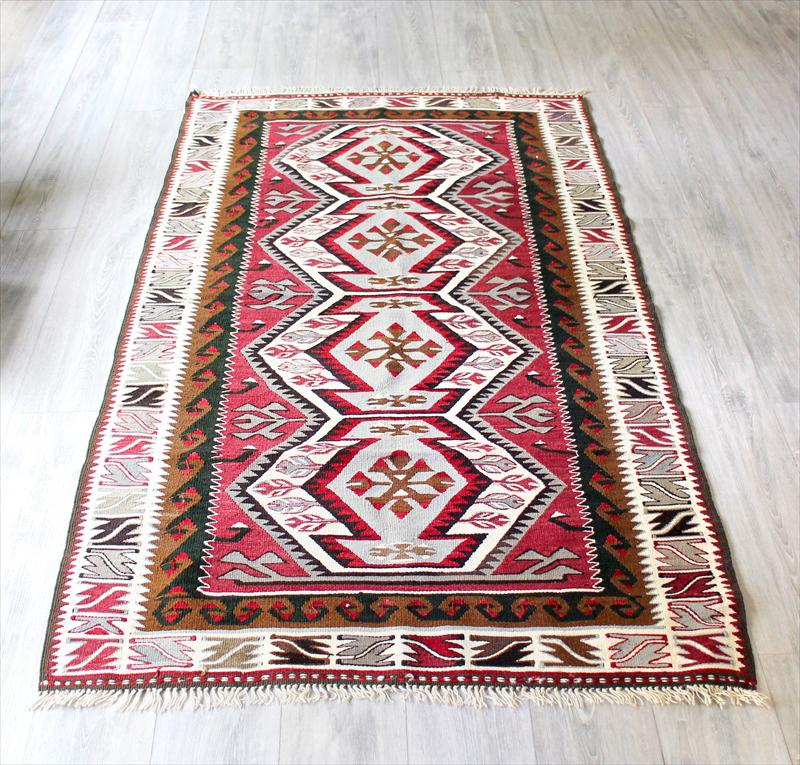 アダナキリム・バフチェジック/トルコ手織りキリムウール100%191×113cm4つのエリベリンデのメダリオン セッヂャーデ
