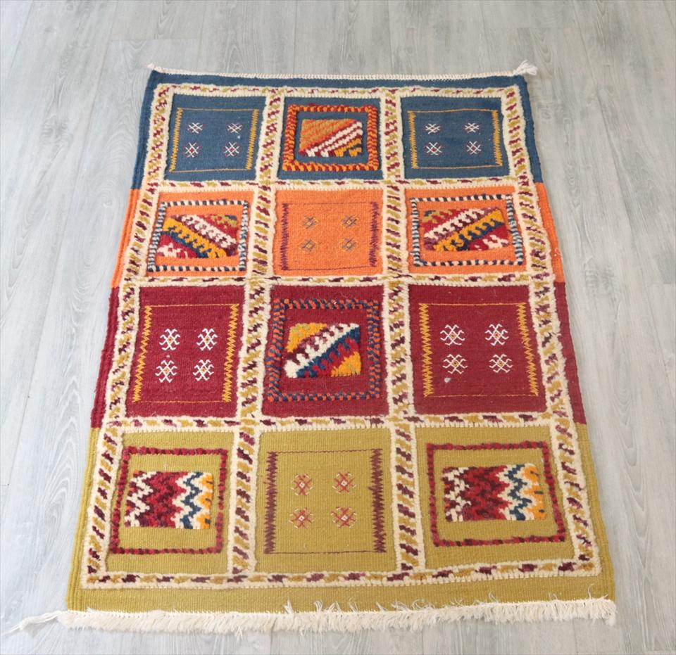 モロッコキリム・タズナフト/ヤストゥクサイズ101×69cm凹凸のあるパイル織りミックス