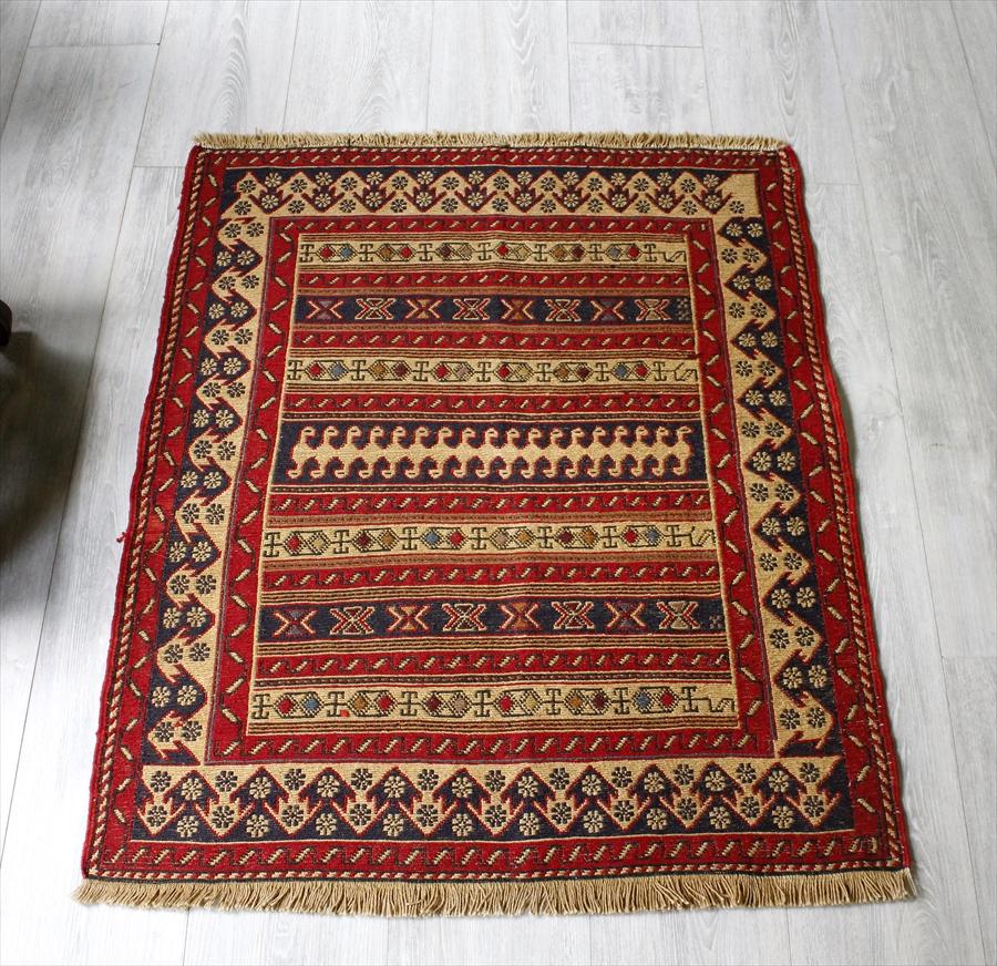 刺繍のようなスマックキリム・シルジャンラフラ/ヤストゥク90×77cm幾何学模様のボーダー