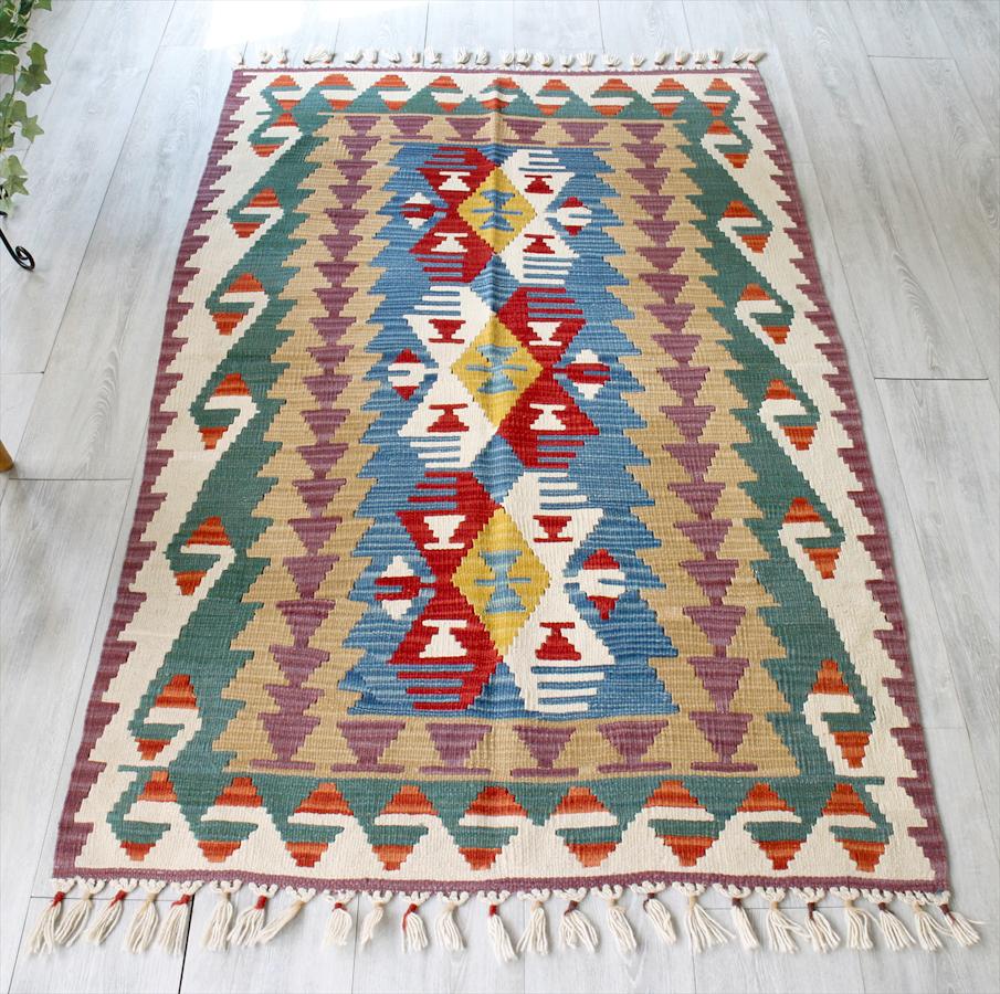 手織りのスタンダードカイセリキリム・セッヂャーデ174×107cm3つのメダリオン ブルー・パープル・グリーン