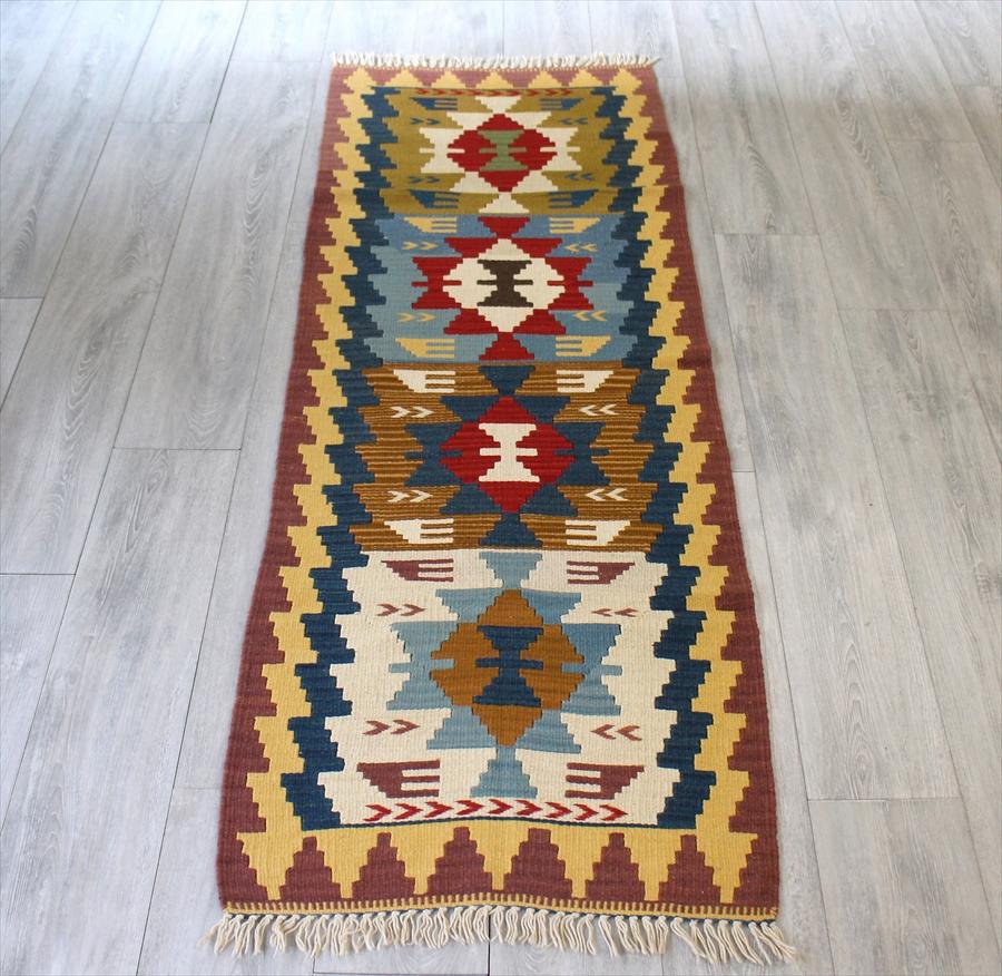 カイセリキリム・やわらかな織りのスタンダードキリム/ランナーサイズ198×65cm4つのベレケット
