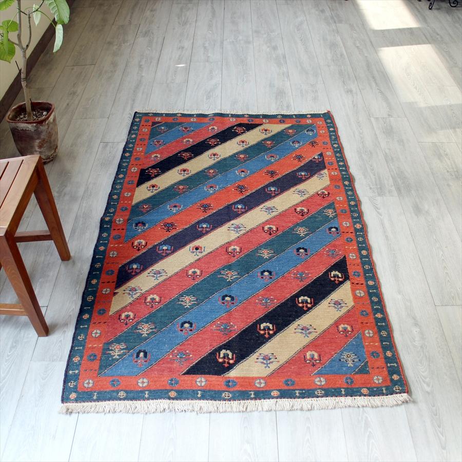 スマック織りのキリム・草木染/ネイビー&レッド160×100cmシルジャン地方の伝統柄