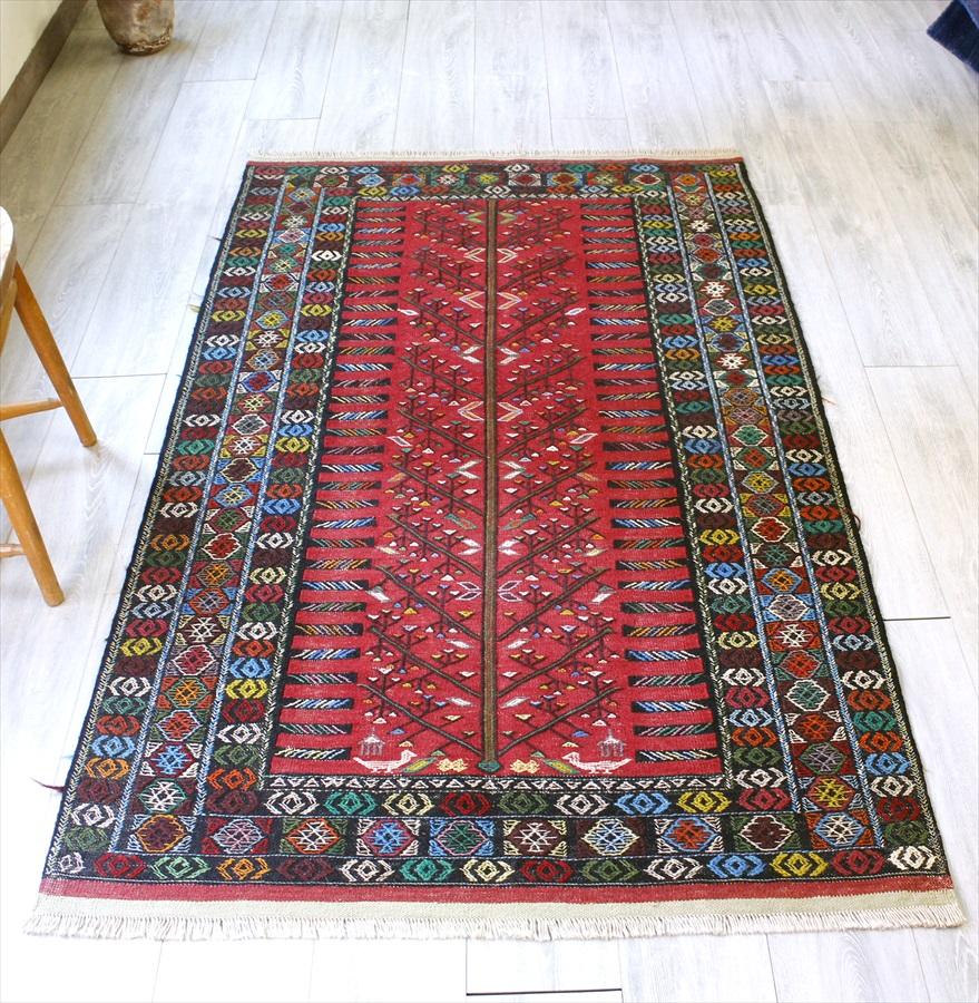 東イランの素朴な手織りキリム・グチャン/セッヂャーデ190×106cm華やかなジジム織りの生命の樹