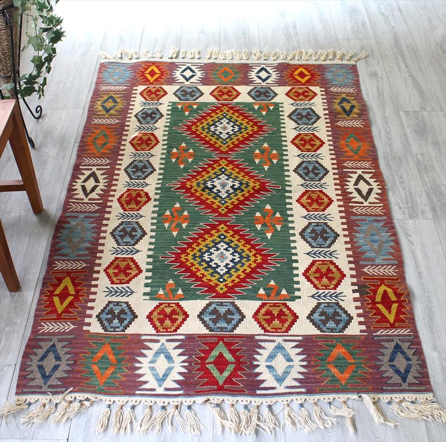 カイセリキリム/トルコの手織りラグ・センターラグサイズ・セッヂャーデ167×113cmローズピンク・アイボリー・グリーン/3つのダイヤのメダリオン・麦の穂のあるボーダー