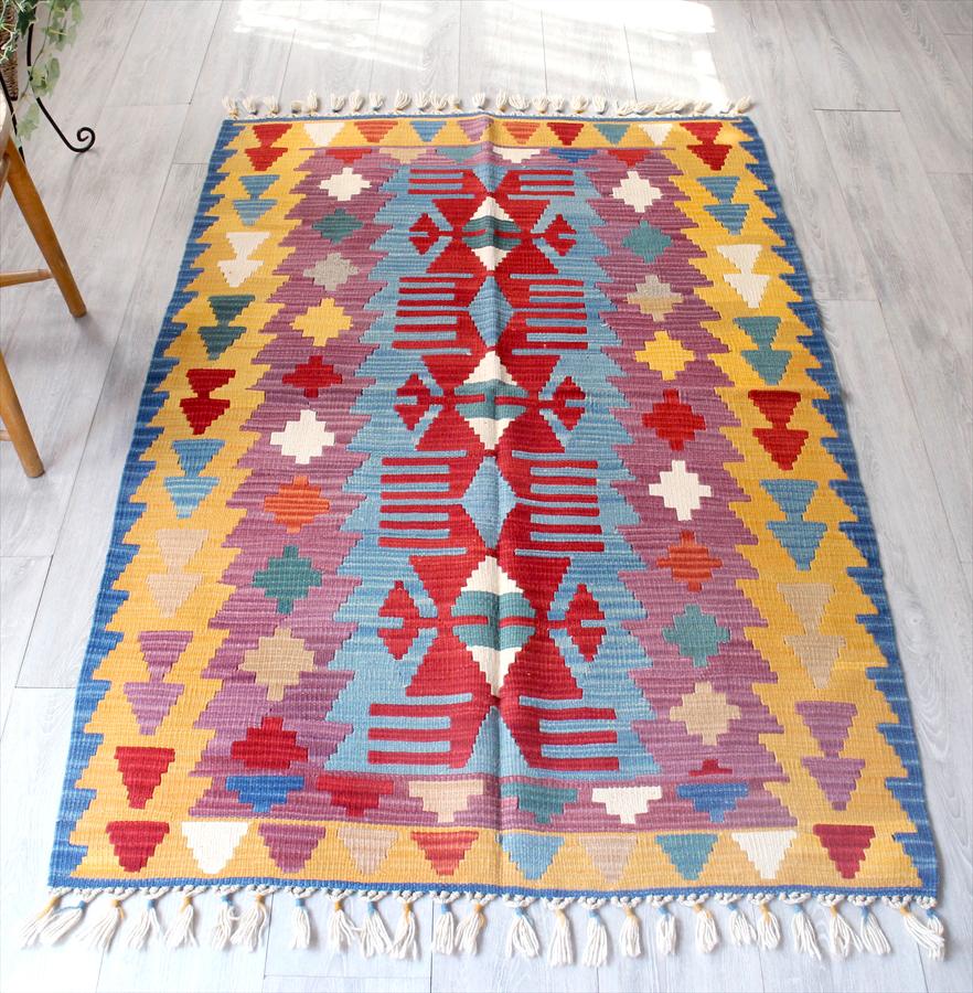 カイセリキリム・やわらかな織りのスタンダードキリム・ウール100%/セッジャーデ・リビングサイズ166×110cm狼の足跡のモチーフ