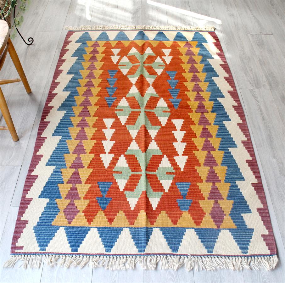 カイセリキリム・やわらかな織りのスタンダードキリム・ウール100%/セッジャーデ・リビングサイズ168×105cm3つのオオカミの足跡