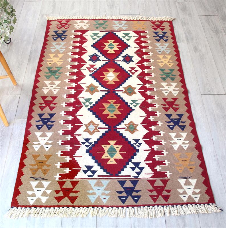 ウシャクキリム・トルコ手織りキリムラグ ウール100%174×113cmセッヂャーデ・センターラグサイズ  アースカラー