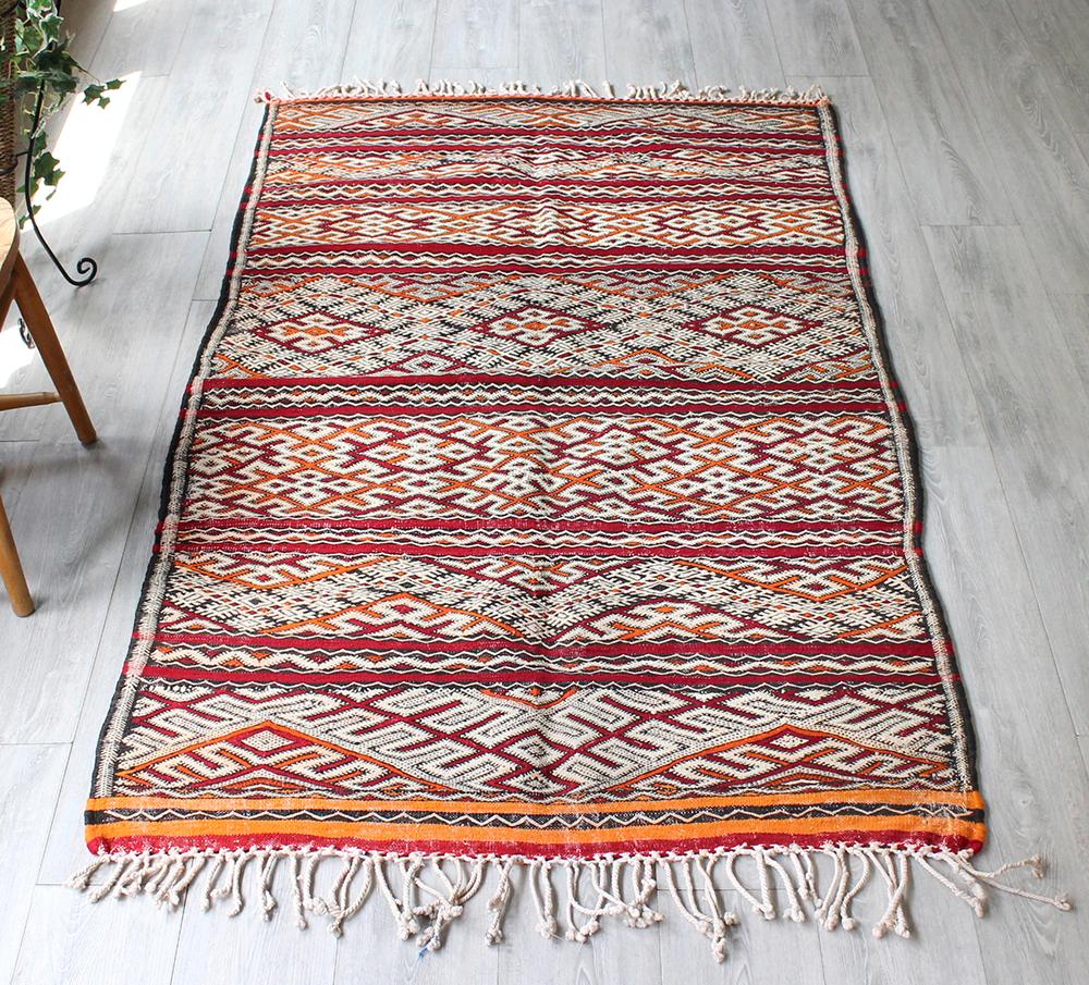 オールドキリム・モロッコ Zaiane ゼアン187×114cm細かく複雑なジジム織り・ミドルアトラス