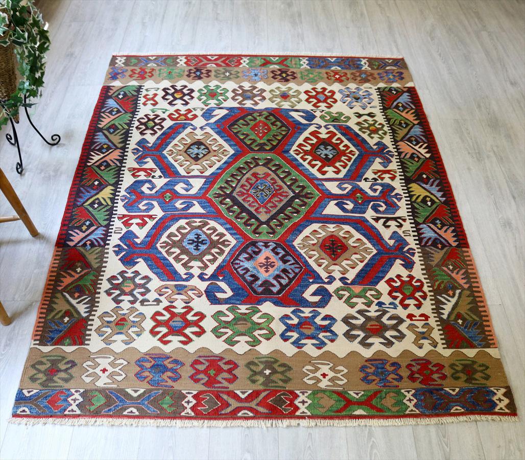 草木染・トルコキリム コンヤ Turkish Kilim Natural dye188×144cm手足を伸ばすドラゴン ホタムシュデザイン