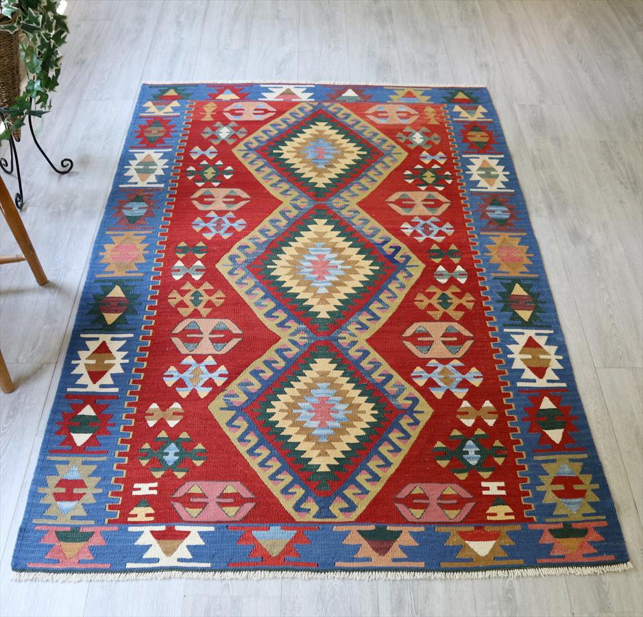 トルコ手織りキリム ウシャク・セッヂャーデ187×122cmレッド/ブルー 3つのドラゴン
