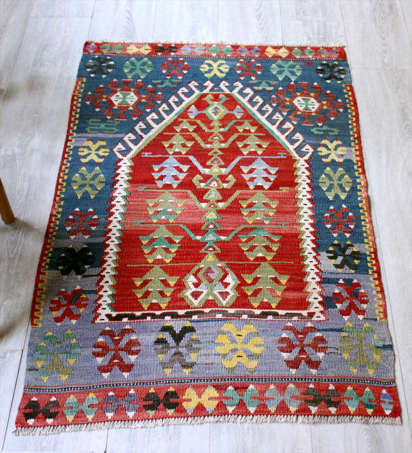 オールドキリム・エシュメ/チェイレキ124×74cm赤いミフラープ・生命の樹 Turkish Kilim Vintage