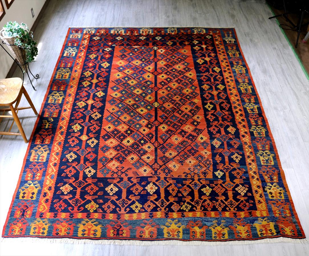 草木染のコンヤキリム(Vintage Stock) ケッレサイズ295×220cmシャルキョイ・生命の樹 Turkish Kilim Natural dye